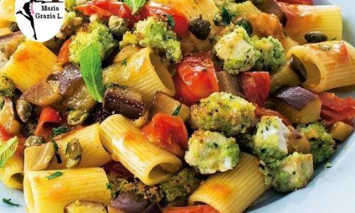 Pasta alle verdure con pesce spada