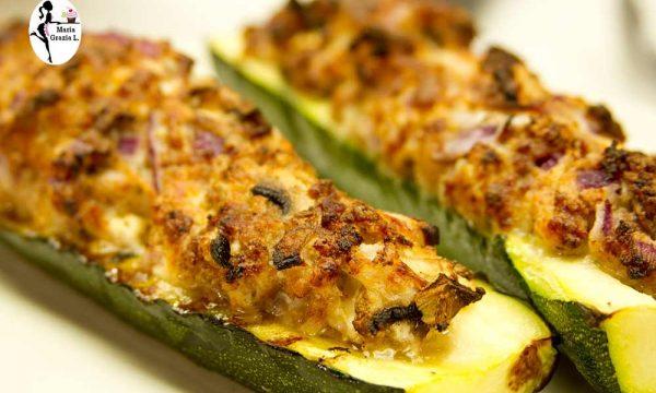 Zucchine lunghe con prosciutto e mandorle