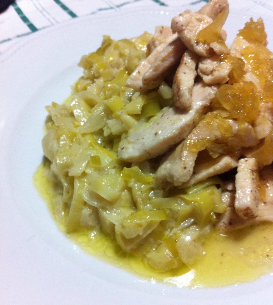 straccetti di pollo con cipolla glassata