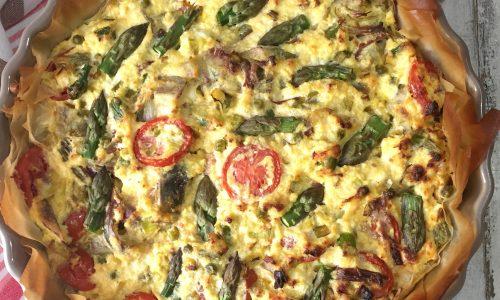 Tart con verdure primaverili e ricotta