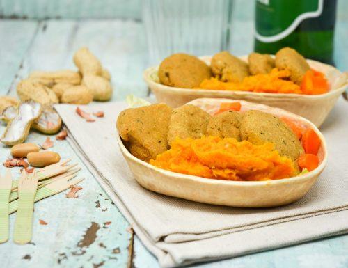 Polpette di ceci e arachidi con crema di carote
