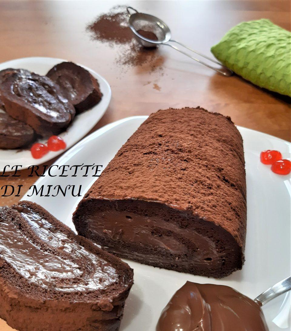 rotolo al cacao con crema alla nutella