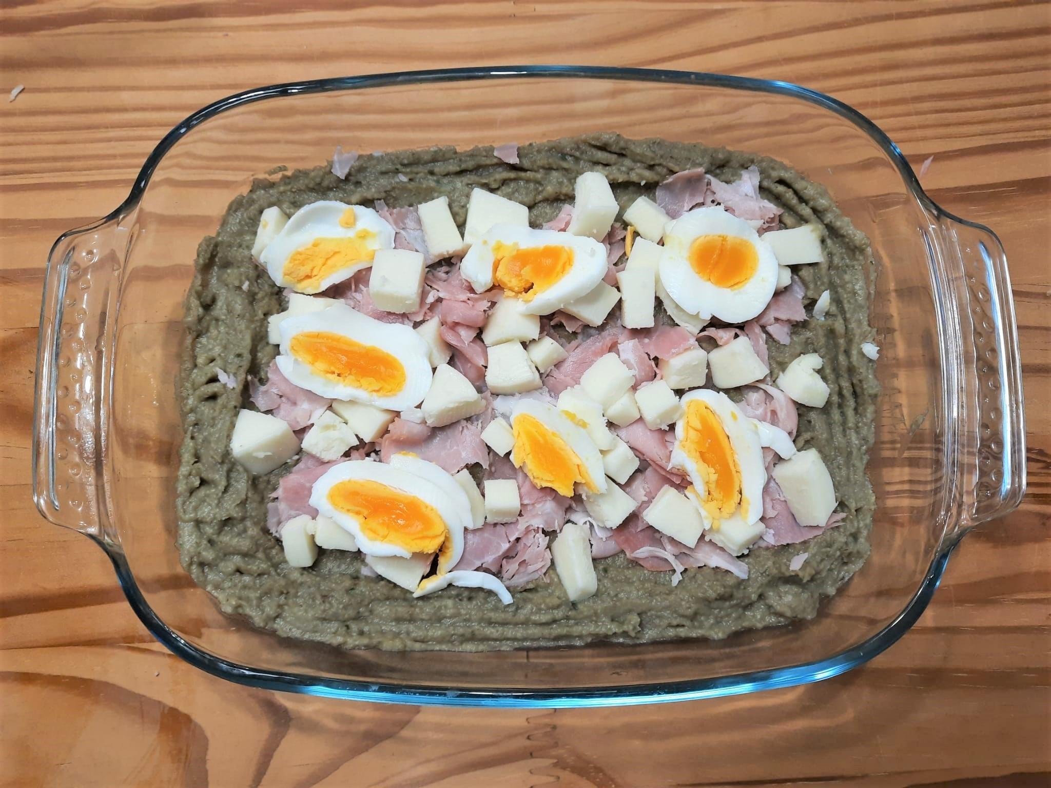 Gateau di caerciofi e patate con prosciutto