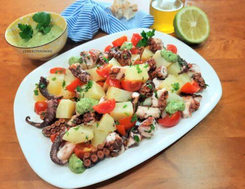 Insalata polpo patate e pomodorini con pesto