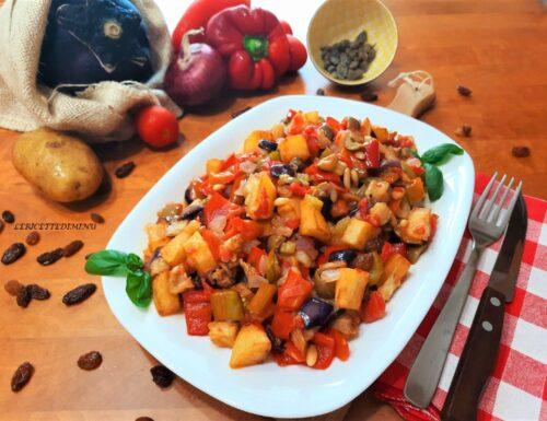 Caponata siciliana alla catanese con patate