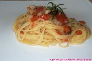 Spaghetti con cernia e Olive Nere
