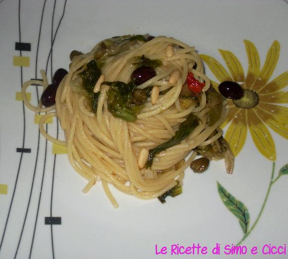 Vermicelli con Scarola, Capperi e Olive Nere