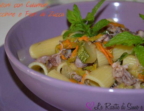 Rigatoni con Calamari, Zucchine e Fiori di Zucca
