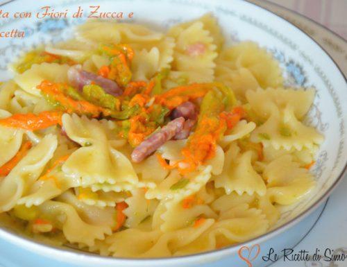 Pasta con Fiori di Zucca e Pancetta