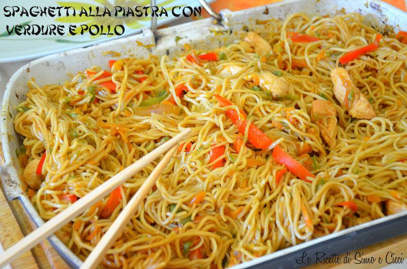 Spaghetti alla Piastra con Verdure e Pollo