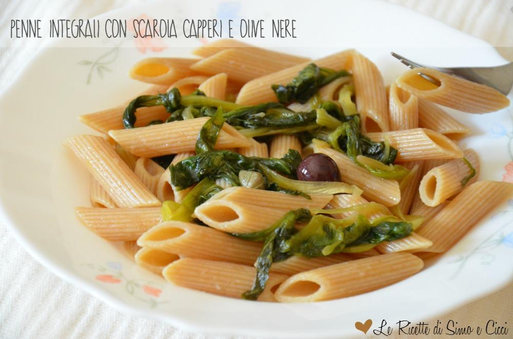 Penne Integrali con Scarola Capperi e Olive Nere