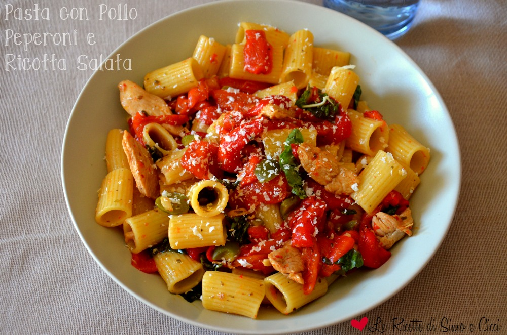 Pasta con Pollo Peperoni e Ricotta Salata