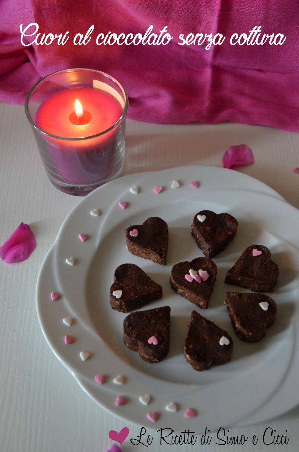 Cuori al cioccolato senza cottura