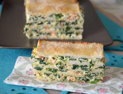 Lasagne di pane con spinaci salmone e ricotta