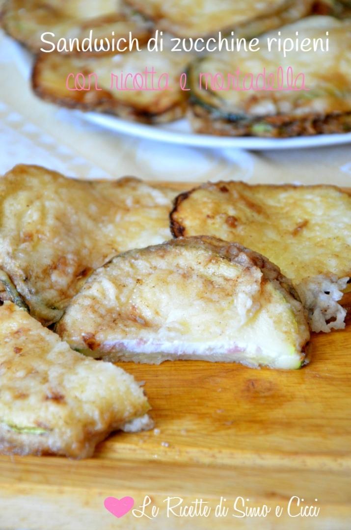 Sandwich di zucchine ripieni con ricotta e mortadella