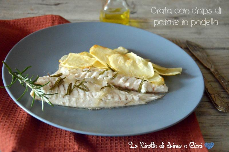 Orata con chips di patate in padella, ricetta light
