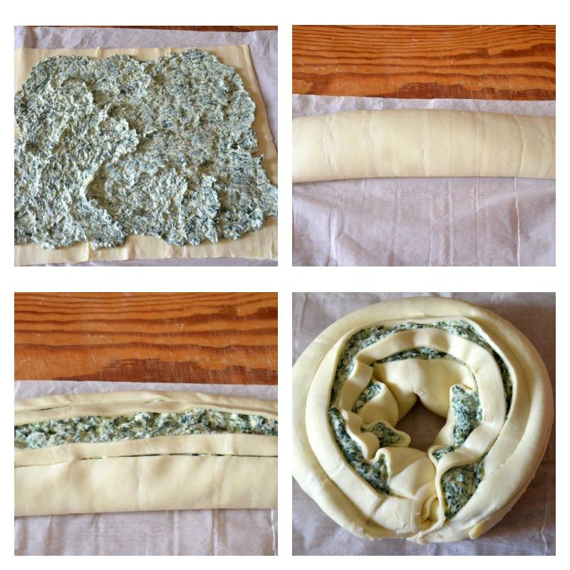 ghirlanda-di-pasta-sfoglia-con-ricotta-e-spinaci-collage