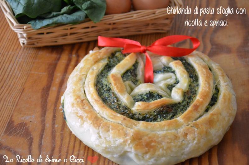 Ghirlanda di Pasta Sfoglia con Ricotta e Spinaci