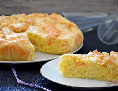 Tagliatelle in crosta con salmone e brie