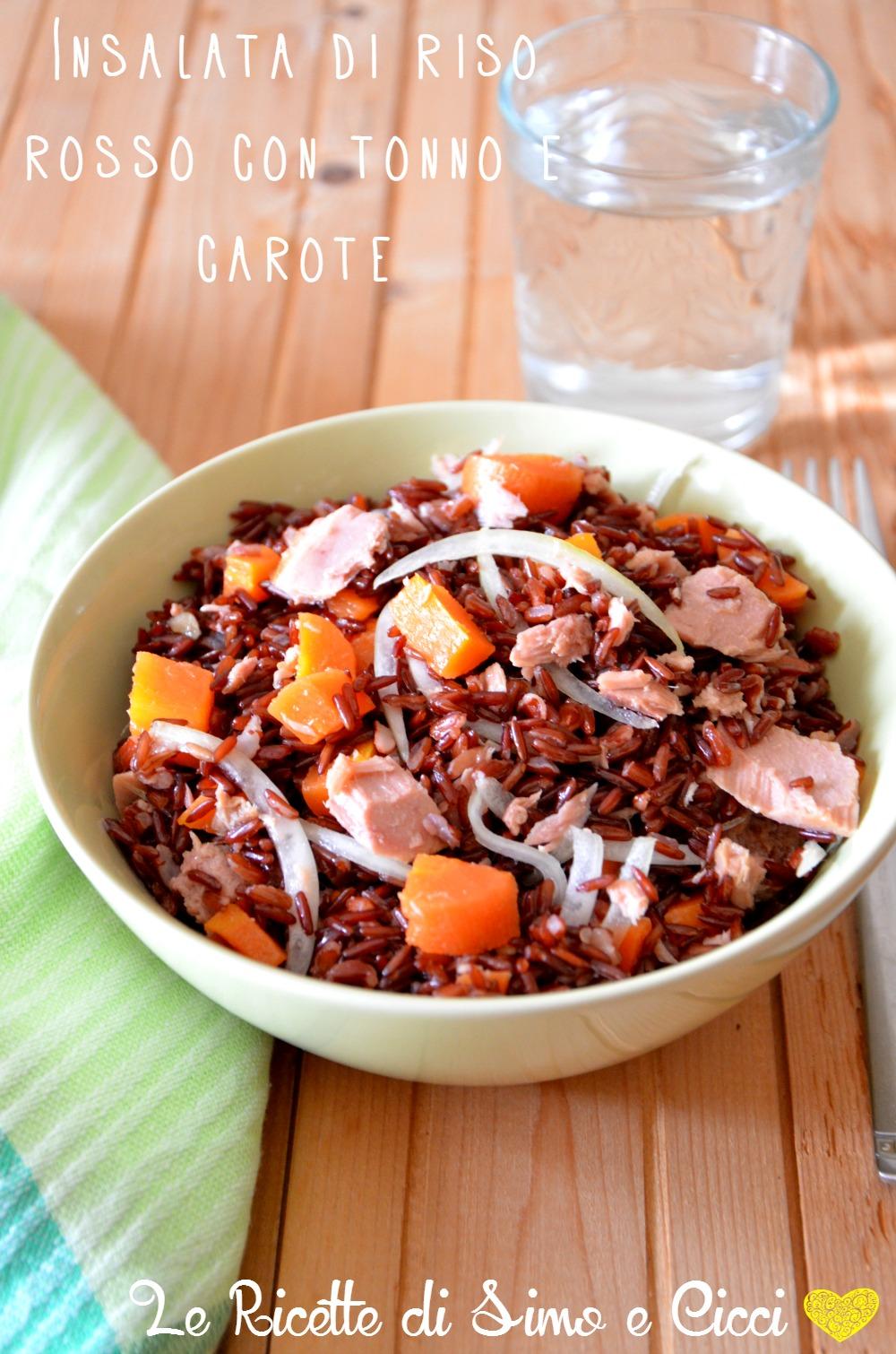 Insalata di riso rosso con tonno e carote