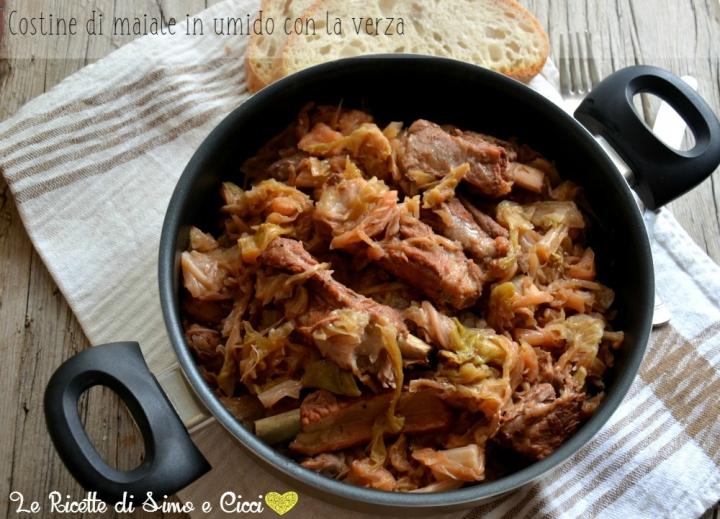 Costine di maiale in umido con la verza