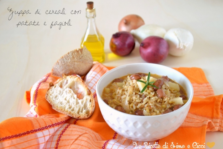 Zuppa di cereali con patate e fagioli