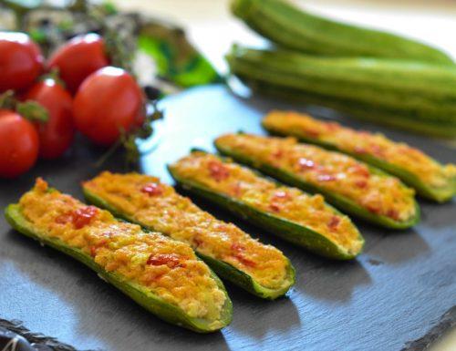 Zucchine ripiene con ricotta e pomodorini
