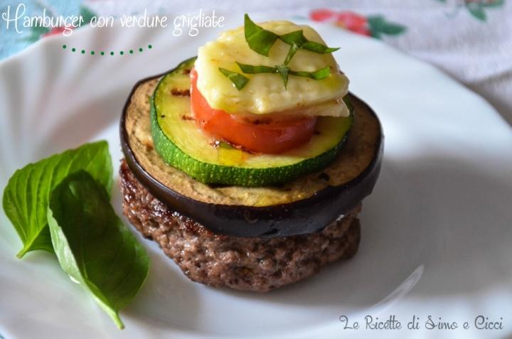 Hamburger con verdure grigliate