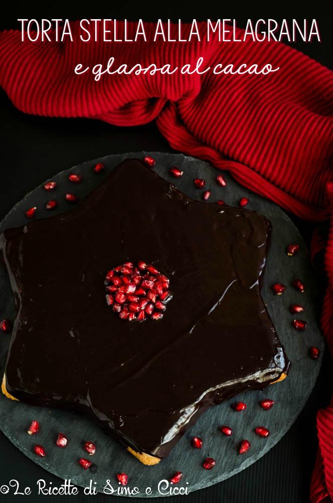 Torta stella alla melagrana e glassa al cacao