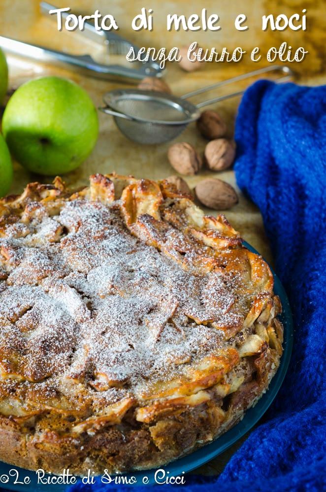 Torta di mele e noci senza burro e olio