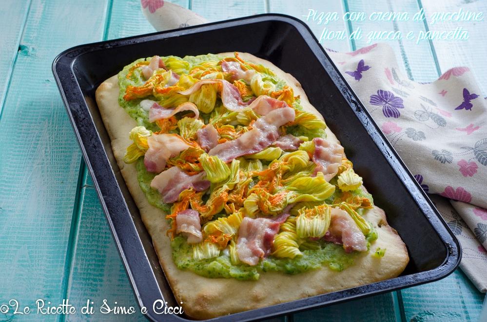 Pizza con crema di zucchine fiori di zucca e pancetta