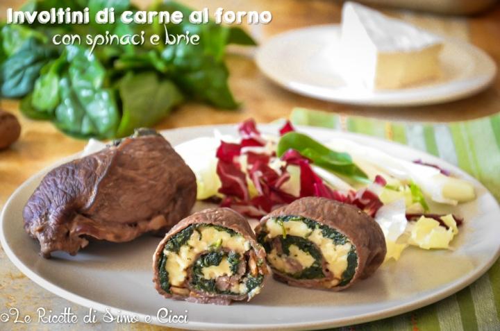 Involtini di carne al forno con spinaci e brie