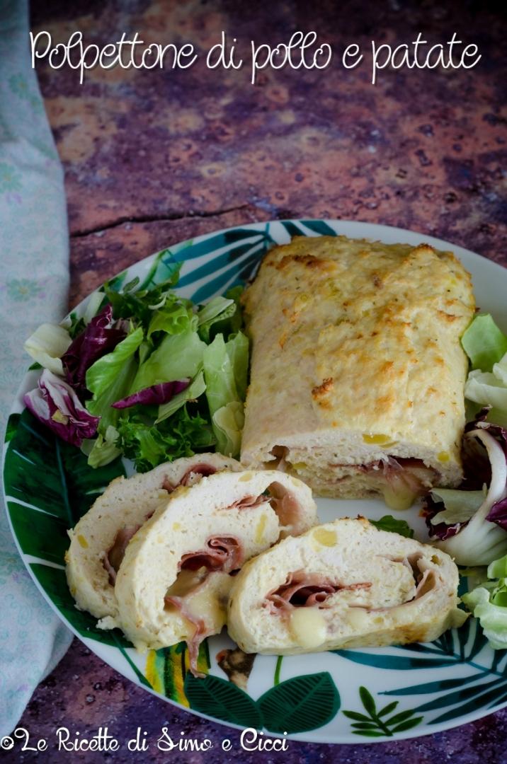 Polpettone di pollo e patate ripieno al forno