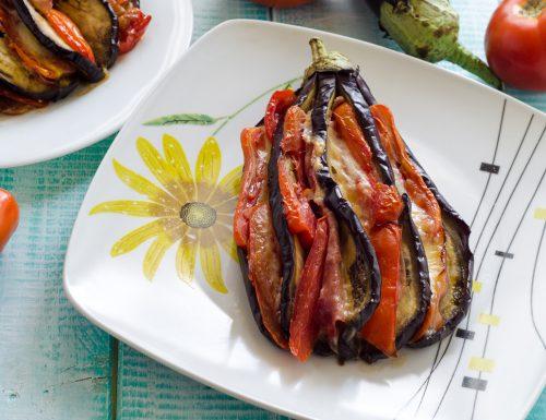 Melanzane a ventaglio con prosciutto e pomodoro