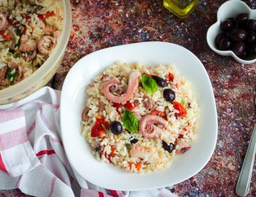 Insalata di riso con polpo e peperoni