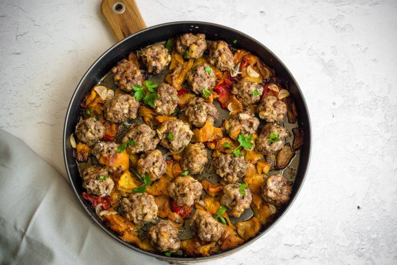 Polpette al forno con peperoni