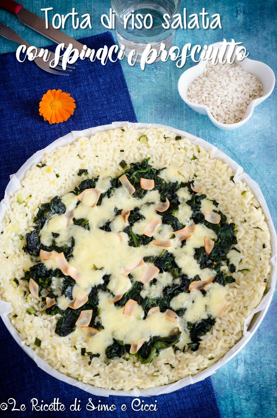 Torta di riso salata con spinaci e prosciutto