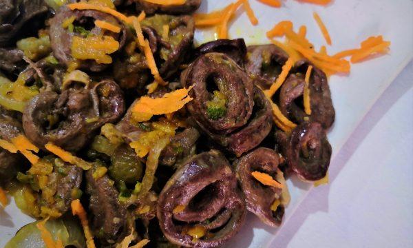 Cuore di pollo in salsa di soia e verdure