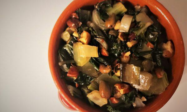 Coste saltate con mandorle e olive taggiasche