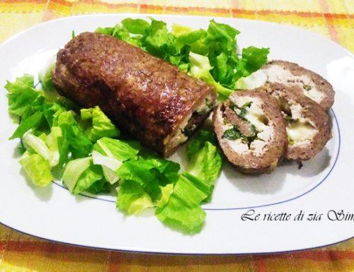 Rotolo di manzo con ricotta e insalata