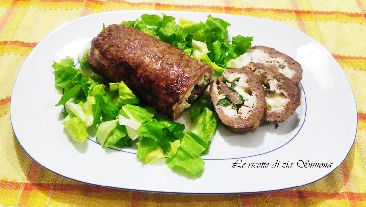 rotolo di manzo ricotta e insalata