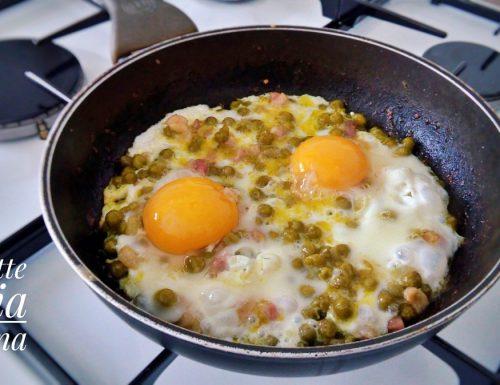 Uova piselli e pancetta