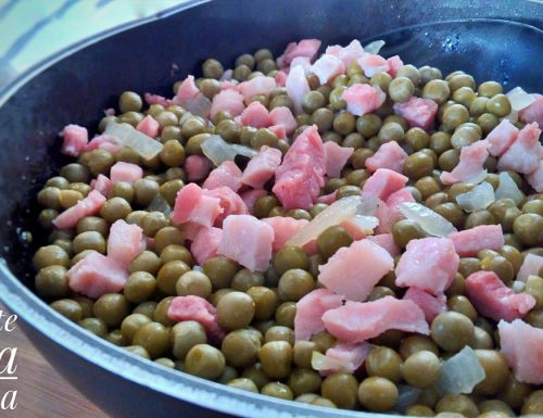 Piselli e pancetta affumicata