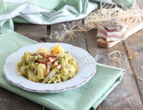 Verza e patate con guanciale croccante