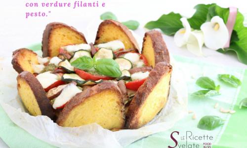 Torta di pane con verdure filanti e pesto