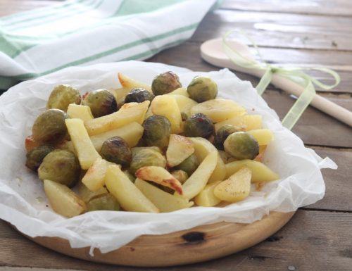 Patate e cavoletti di Bruxelles al forno