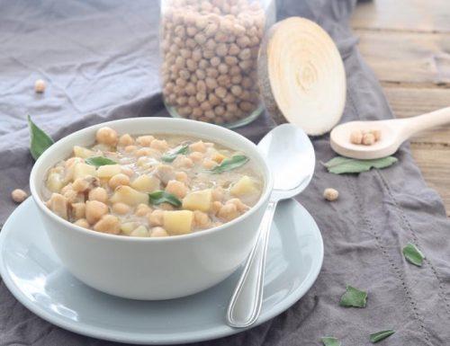 Zuppa di ceci con patate e porcini