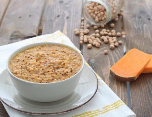 Zuppa di zucca con cereali quinoa e ceci