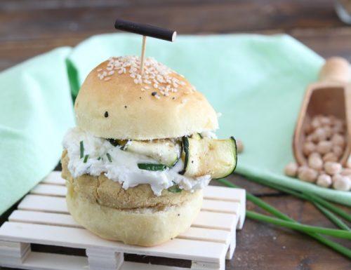 Burger di ceci con zucchine e crema di robiola