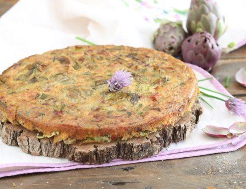Frittata al forno con asparagi carciofi e pancetta